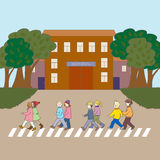 Illustration with kids walking to the school. Stock Photo