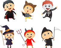 Illustration of Kids Wearing Halloween Costumes Royalty Free Stock Photos