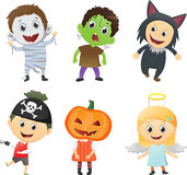 Illustration of Kids Wearing Halloween Costumes Royalty Free Stock Images
