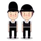 Illustration of Kids Wearing Police Cop British UK United Kingdom Costume. Vector drawing illustration. stock illustration
