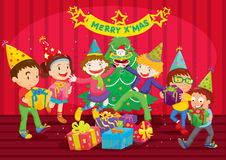 Kids at christmas Stock Images