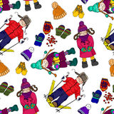 Illustration of Kids and winter fun. The bright winter clothes.. The festive mood. Seamless pattern Royalty Free Stock Photography