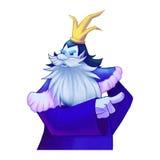 Illustration: A King Give Orders. Viking, Dwarf King, Big beard, Crown. Fantastic Cartoon Style Character Design Royalty Free Stock Photo
