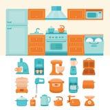 Illustration of kitchen appliances. Illustration of a kitchen with appliances. Collection of  elements kitchen appliances: refrigerator, stove, microwave Stock Photo