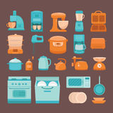 Illustration of kitchen appliances. Set of  elements kitchen appliances: stove, microwave, dishwasher, coffee machine, blender, slow cooker, toaster, electric Stock Images