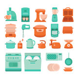 Illustration of kitchen appliances. Set of  elements kitchen appliances stove, microwave, dishwasher, coffee machine, blender, slow cooker, toaster, electric Royalty Free Stock Images