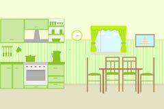 Illustration of kitchen with kitchen furniture Stock Image