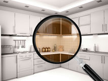 Illustration of kitchen is through a magnifying glass Royalty Free Stock Image