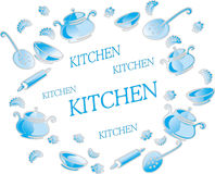Illustration with kitchen utensils and accessories. Stock Photo