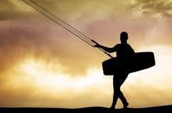 Kite surfer at sunset. Illustration of kite surfer at sunset stock illustration