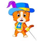 Kitten musketeer with sword. Illustration of kitten musketeer with sword Royalty Free Stock Images
