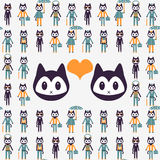 Illustration with kittens in love Stock Photography