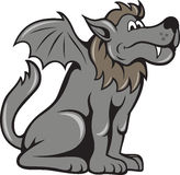 Kludde Wild Dog With Wings. Illustration of kludde a Belgian mythical beast that is a wild dog wolf with wings of a bat done in cartoon style Stock Photo