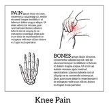 Illustration of knee pain. Hands holding leg Stock Images