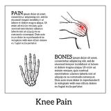 Illustration of knee pain. Hands holding leg Royalty Free Stock Image