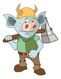 Illustration of a Knight Devil. Cartoon Character. Blue lines the knight in an armour with the weapon and a helmet Stock Images
