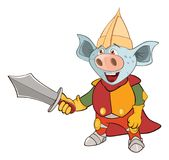 Illustration of a Knight Devil. Cartoon Character. Blue lines the knight in an armour with the weapon and a helmet Royalty Free Stock Photo