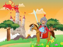 Illustration of knight and dragon Stock Image