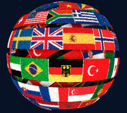 Illustration of Knit National flags twisted as spiral globe. 3D illustration of Knit National flags twisted as spiral globe on dark Stock Photo