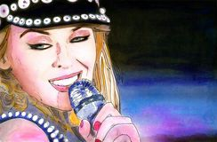 Illustration of Kylie Minogue singing. Stock Photography