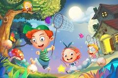 Illustration: Låt oss gå att fånga eldflugorna! Lyckliga små vänner som spelar tillsammans kört in i den fantastiska natten Arkivbild
