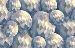 Illustration légère des boules de cristal 3d Fond numérique créatif de sphères de résumé illustration libre de droits