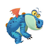 Illustration : La paresse Dragon Monster sur le fond blanc Photos libres de droits