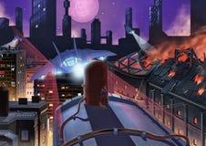 Illustration : La ville occupée sur le feu illustration de vecteur