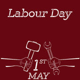 Illustration of Labor Day. Concept with man holding wrench. vector illustration Stock Images