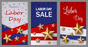 Labor day sale banner template with American flag and golden star design. Illustration of Labor day sale banner template with American flag and golden star Royalty Free Stock Photo
