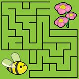 Illustration with a labyrinth `bee and flowers`. royalty free illustration