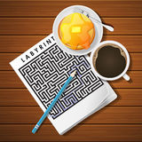 Illustration of labyrinth game with coffee cup and pancake Stock Photography