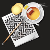 Illustration of labyrinth game with hot tea and cracker Stock Photography