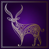 Illustration with lace deer in floral style 1 Royalty Free Stock Photo
