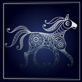 Illustration with lace horse in floral style 2 Stock Photos