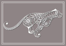Illustration with lace puma in floral style 3 Royalty Free Stock Image