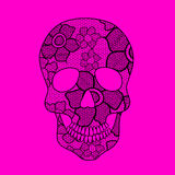 Illustration of lacy skull. Illustration of black floral lacy skull on a pink background Royalty Free Stock Photo