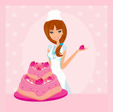 Illustration of lady baker Royalty Free Stock Image