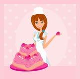 Illustration of lady baker royalty free illustration