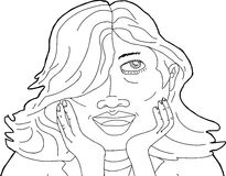 Illustration of Lady Holding Chin Royalty Free Stock Photo