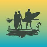 Illustration of lady and man posing with surfboard Royalty Free Stock Photo