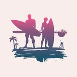 Illustration of lady and man posing with surfboard Stock Photography