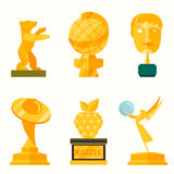 Illustration of lady statue trophy on white Royalty Free Stock Photo