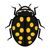 Ladybug logo symbol icon sign with fourteen yellow spots. An illustration of a ladybug, isolated, mostly black, dark-grey and yellow colored, simple style royalty free illustration