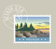 Illustration of Lake Tahoe shoreline, Nevada. Nevada postage stamp design. Vector illustration of Lake Tahoe shoreline. Grunge postmark on separate layer Royalty Free Stock Photos