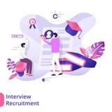 Illustration. Landing Page Interview Recruitment illustration concept, can use for, landing pages, templates, UI, web, mobile app, poster, banner, flyer stock illustration