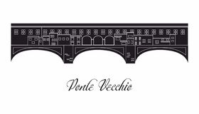 The illustration with landmark the Ponte Vecchio vector illustration