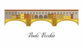 The illustration with landmark the Ponte Vecchio stock illustration
