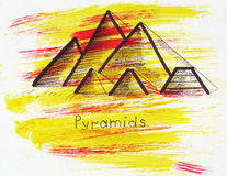 Illustration Landmark sketching ancient Egyptian pyramids near Cairo in the Libyan desert heart royalty free illustration