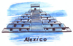 Illustration Landmark sketching sun pyramid in Mexico. The largest building of the city of Teotihuacan stock illustration